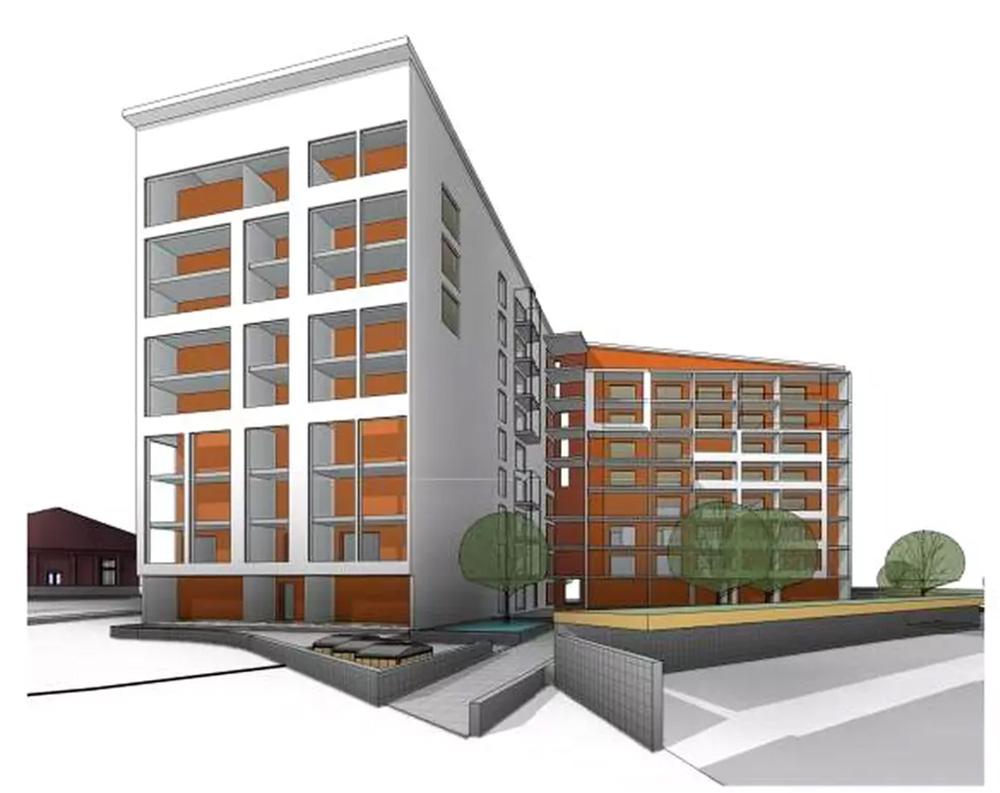 Havainnekuvassa suunnitellut 8- ja 9-kerroksiset kerrostalot, jotka tulisivat Sotkanvirran tilalle.